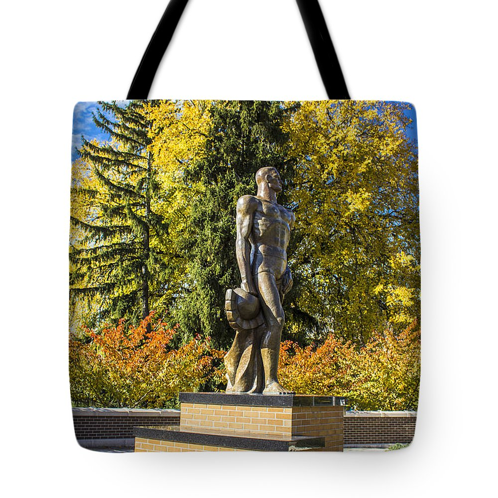 The Spartan Statue Tote Bag featuring the photograph The Spartan Statue In Autumn by John McGraw