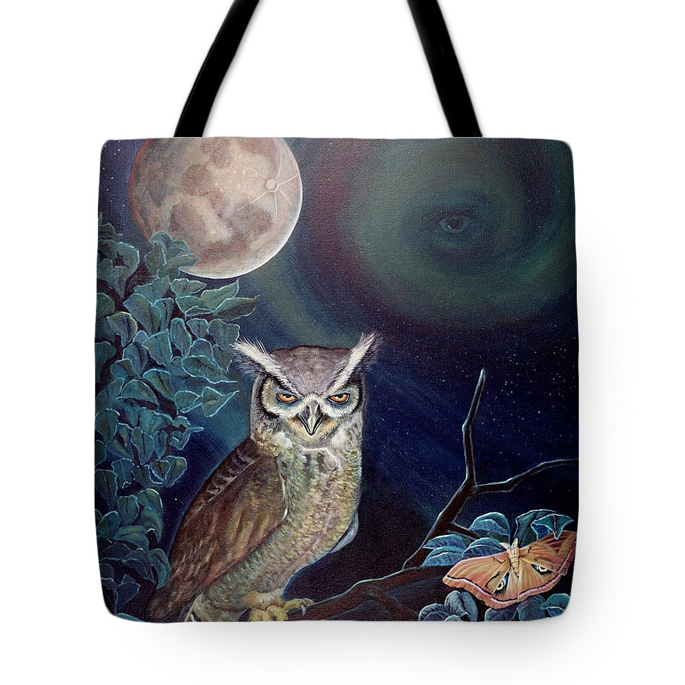 Wildlife Tote Bag featuring the painting The Spirit Of The Night by Peter Bonk