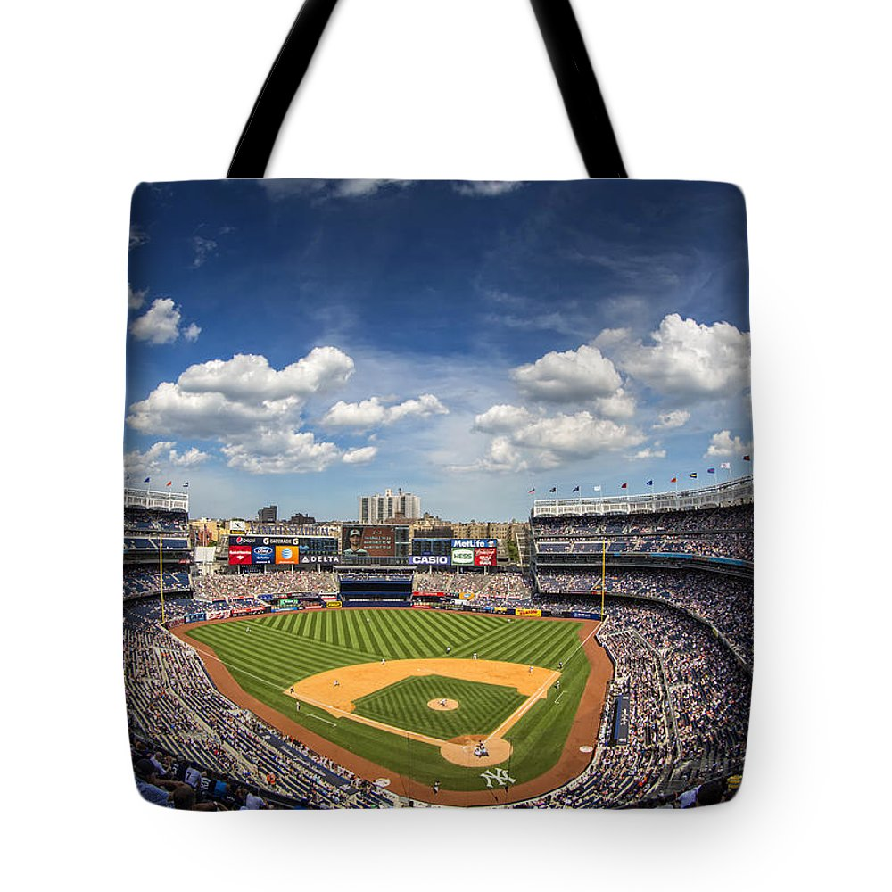 Ny Yankees Tote Bag featuring the photograph The Stadium by Rick Berk