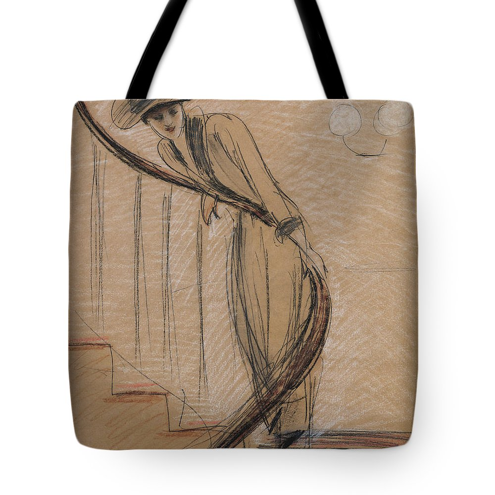 Woman Tote Bag featuring the drawing The Staircase by Paul Cesar Helleu