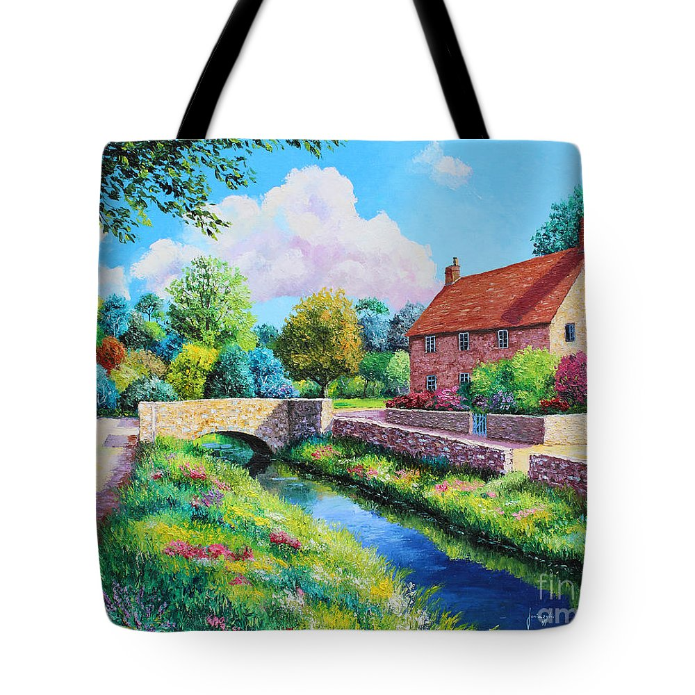 Jean-marc Janiaczyk Tote Bag featuring the painting The Stone Bridge by Jean Marc Janiaczyk