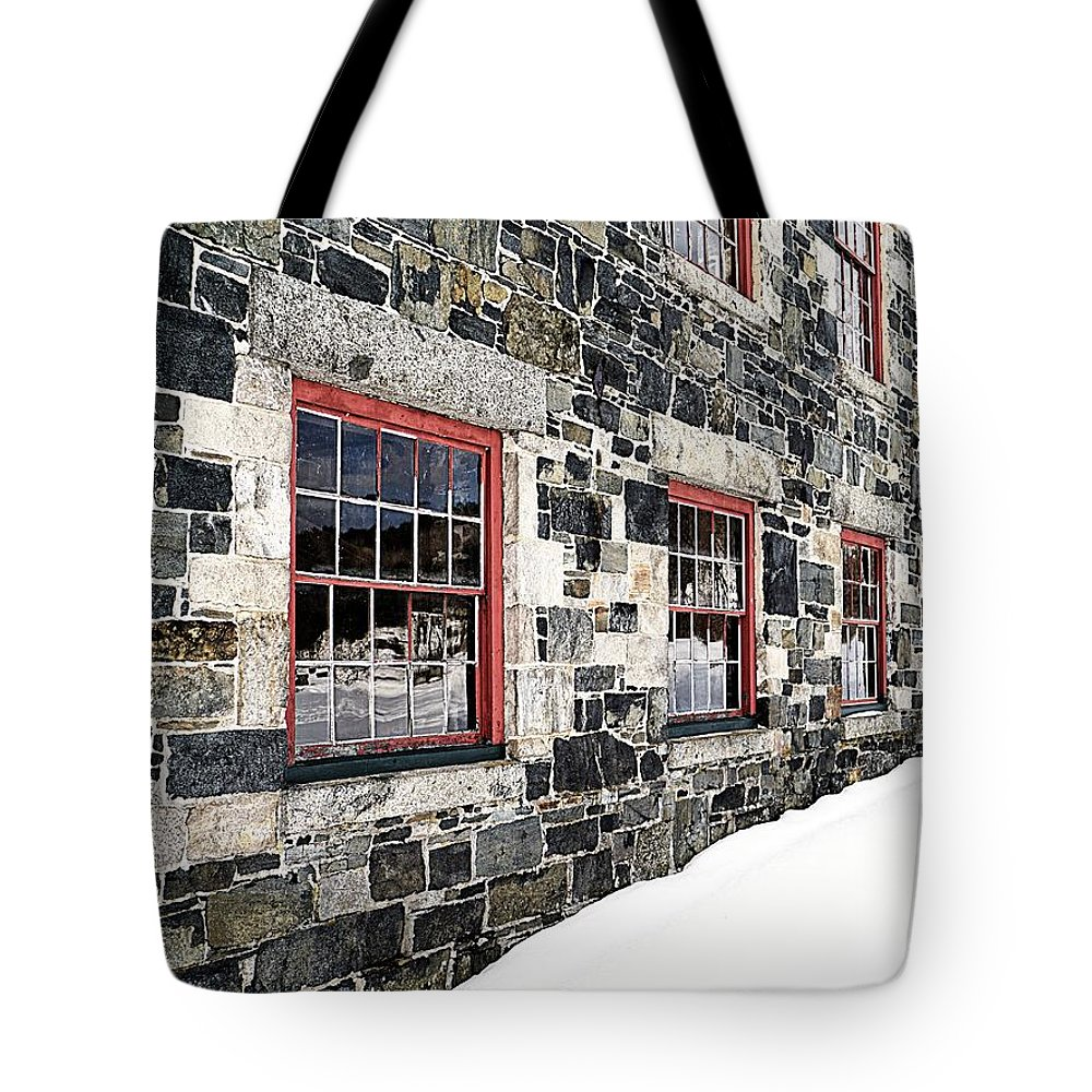 Barn Tote Bag featuring the photograph The Stone Mill At The Enfield Shaker Museum by Edward Fielding