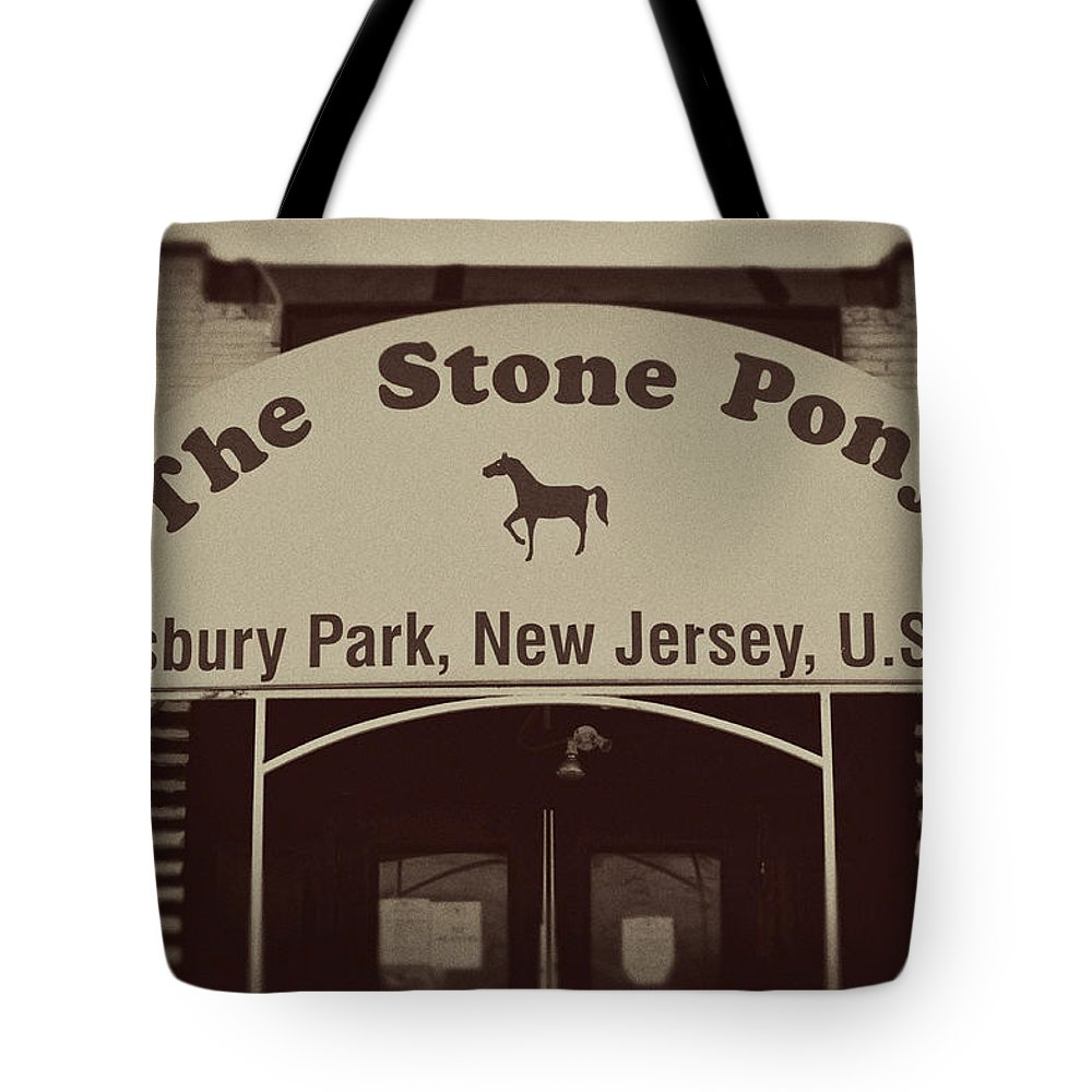 The Stone Pony Vintage Asbury Park New Jersey Tote Bag featuring the photograph The Stone Pony Vintage Asbury Park New Jersey by Terry DeLuco