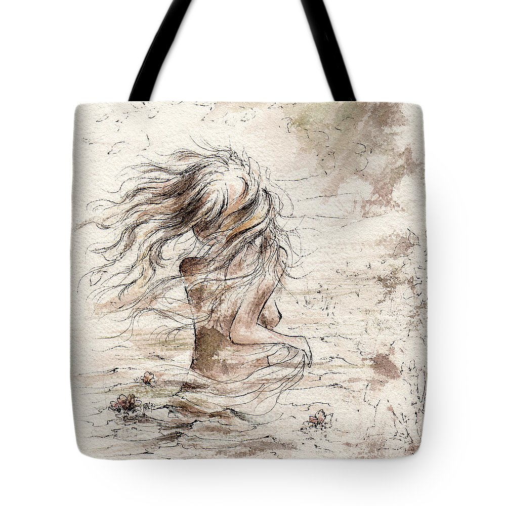 Woman Tote Bag featuring the painting The Storm by Rachel Christine Nowicki