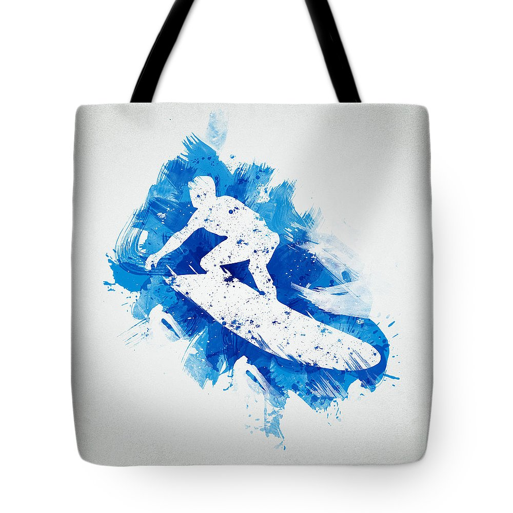 Action Tote Bag featuring the digital art The Surfer by Aged Pixel