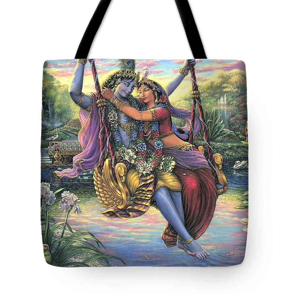 Radha Krishna Swing Tote Bag featuring the painting The Swing Pastime 2 by Vishnudas Art