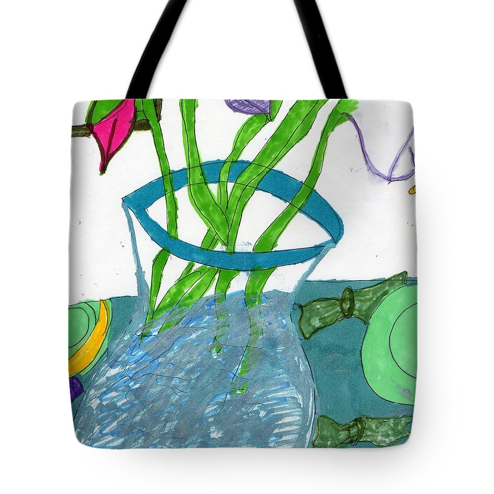 Vase With Flowers On A Blue Tablecloth Tote Bag featuring the mixed media The Table Setting by Elinor Helen Rakowski