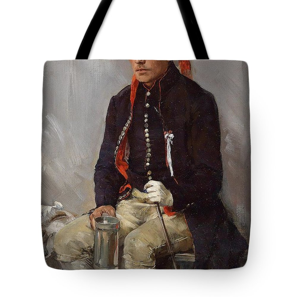 Augustin Nemejc Tote Bag featuring the painting The Thirsty Feast Day Visitor by MotionAge Designs