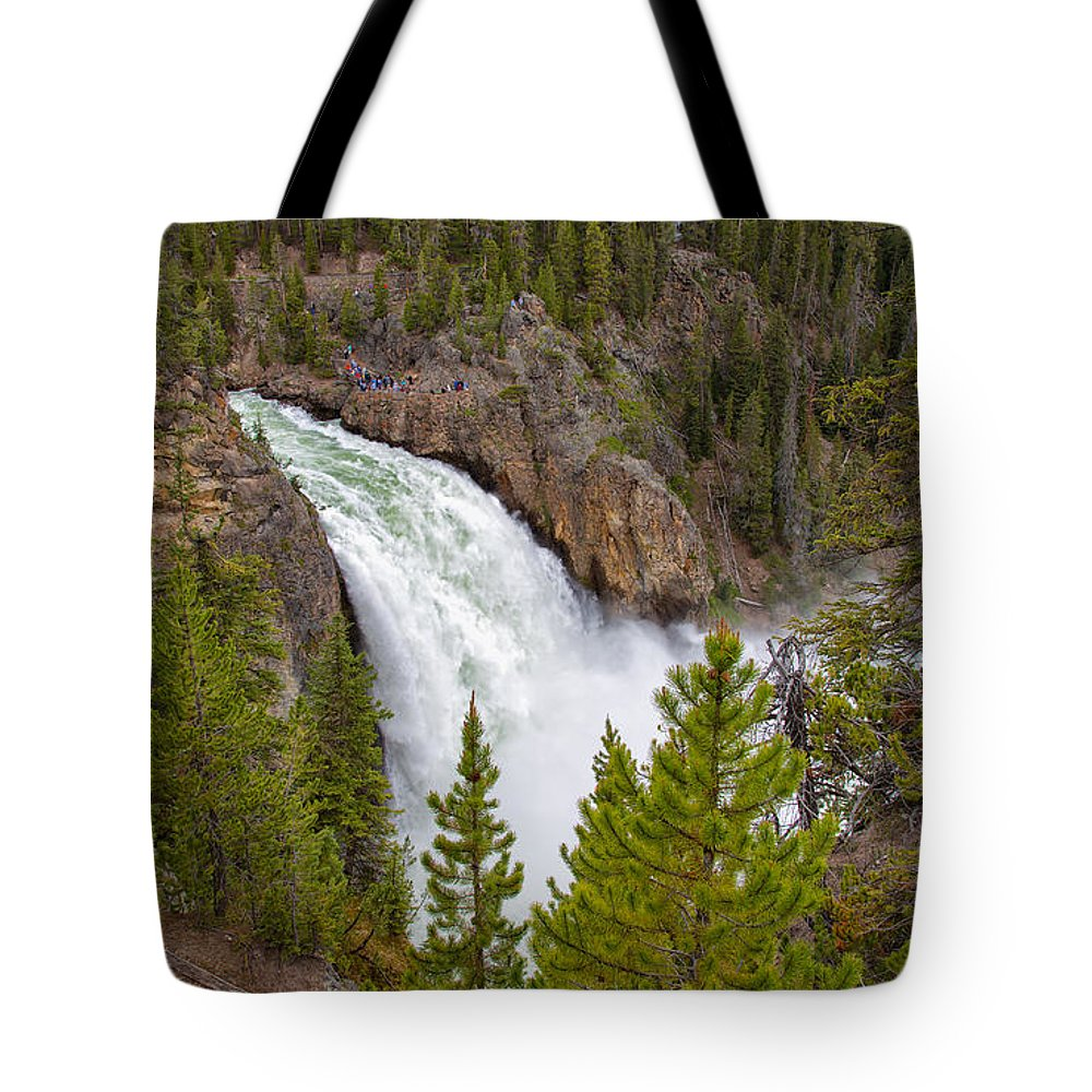 Yellowstone Tote Bag featuring the photograph The Thundering Lower Yellowstone Falls by John M Bailey