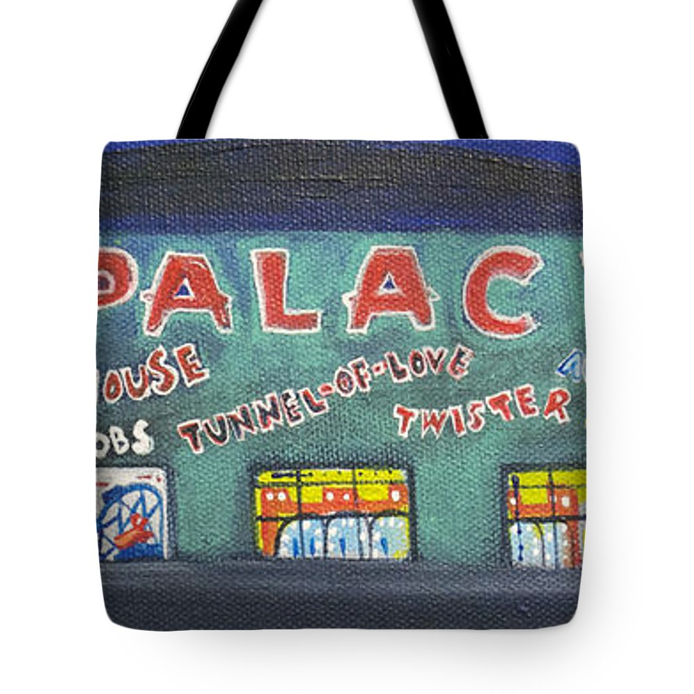 Tillie Of Asbury Park Tote Bag featuring the painting The Tiny Tiny Palace by Patricia Arroyo