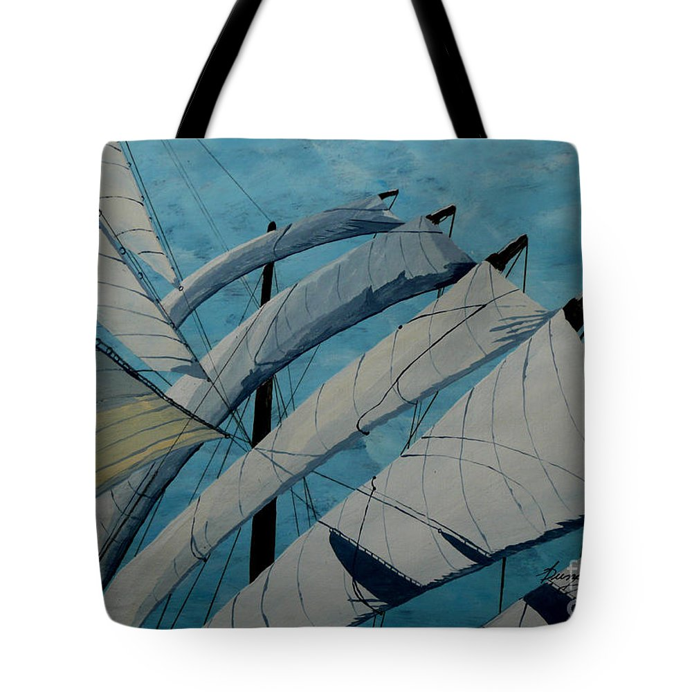 Sails Tote Bag featuring the painting The Tower Of Power by Anthony Dunphy