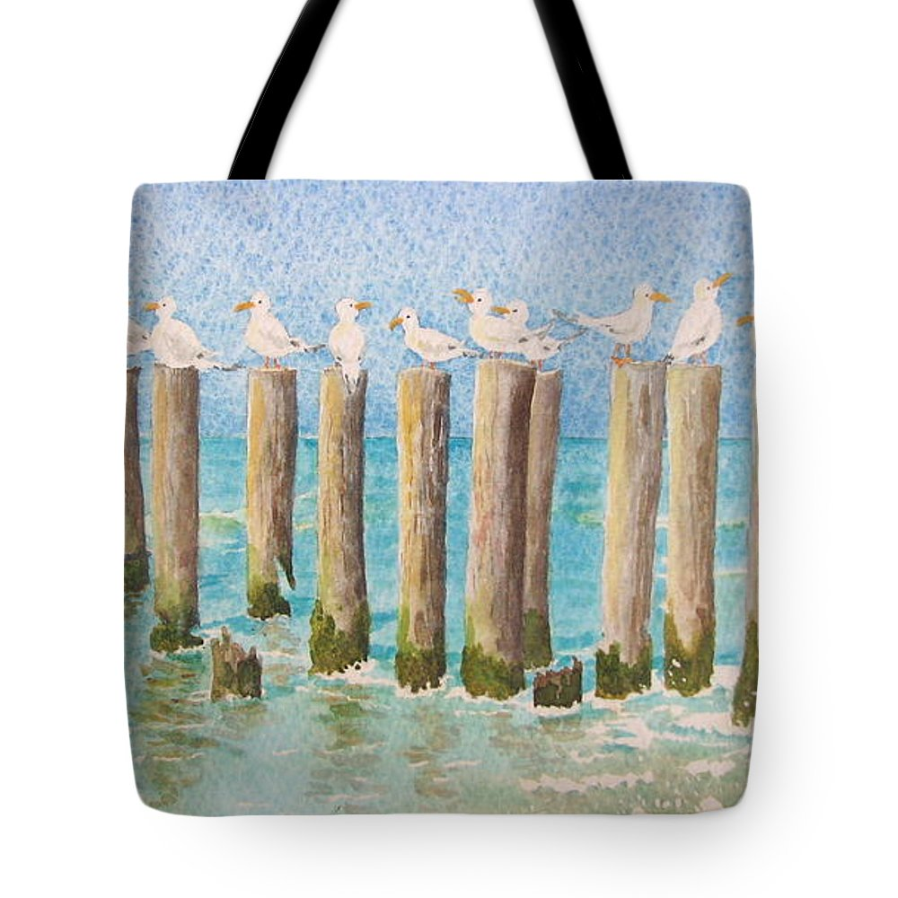 Seagulls Tote Bag featuring the painting The Town Meeting by Mary Ellen Mueller Legault