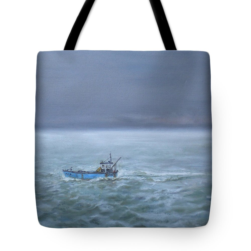 Seascape Tote Bag featuring the painting The Trawler Returns by Kathryn Dalziel