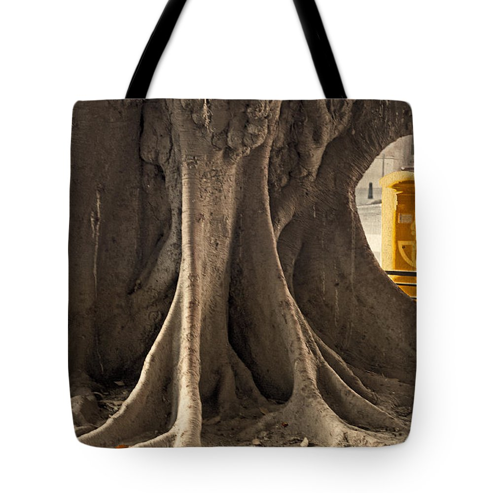 Tree Tote Bag featuring the photograph The Tree And The Post Box by Mary Machare