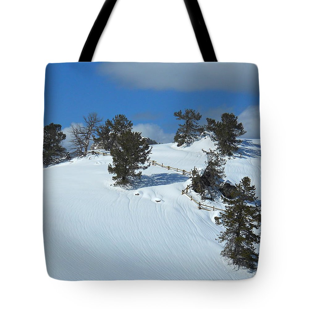 Snow Tote Bag featuring the photograph The Trees Take A Snow Day by Michele Myers