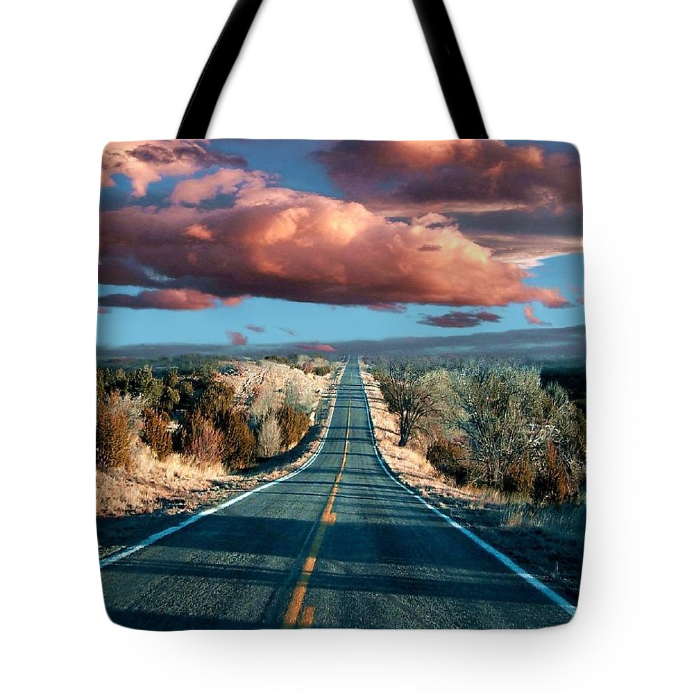 Roads Tote Bag featuring the mixed media The Trip by Bill Stephens