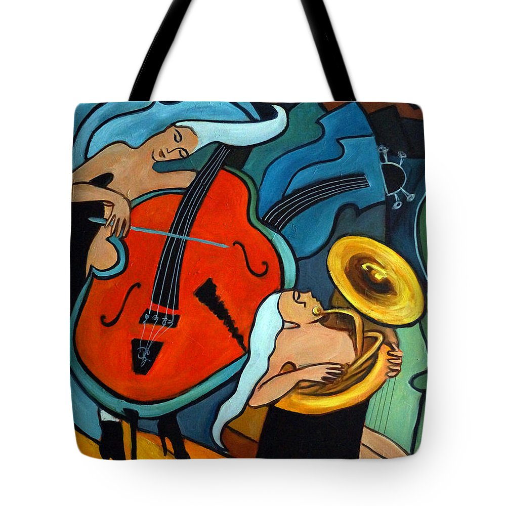 Musician Abstract Tote Bag featuring the painting The Tuba Player by Valerie Vescovi