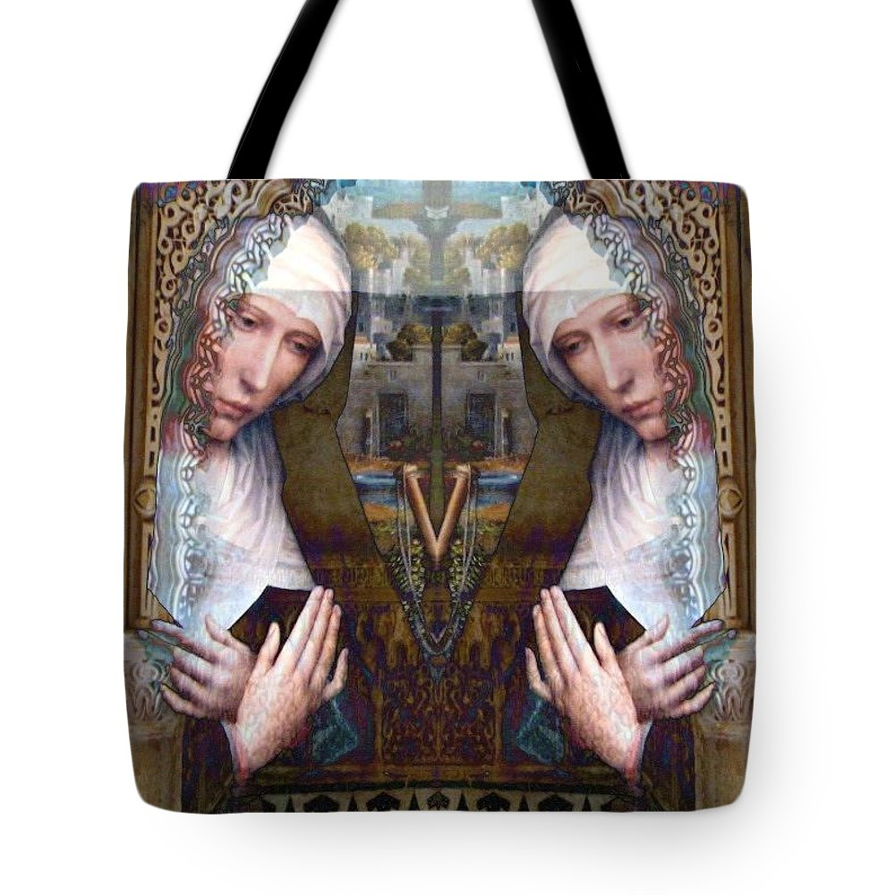 Jesus Tote Bag featuring the photograph the two Marys at the Alhambra by Candee Lucas