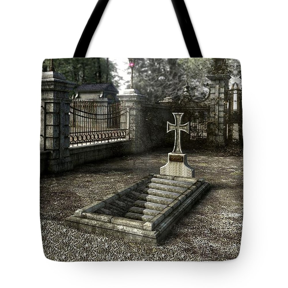 Hidden Entry Tote Bag featuring the digital art The Un-grave by Robert Marquiss