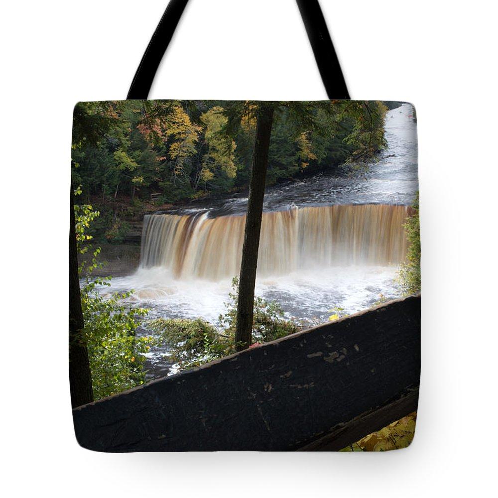 Upper Tahquamenon Falls Tote Bag featuring the photograph The Upper Falls by Linda Kerkau