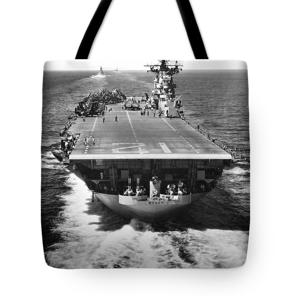 War Tote Bag featuring the photograph The U.s. Aircraft Carrier Uss Boxer by Stocktrek Images