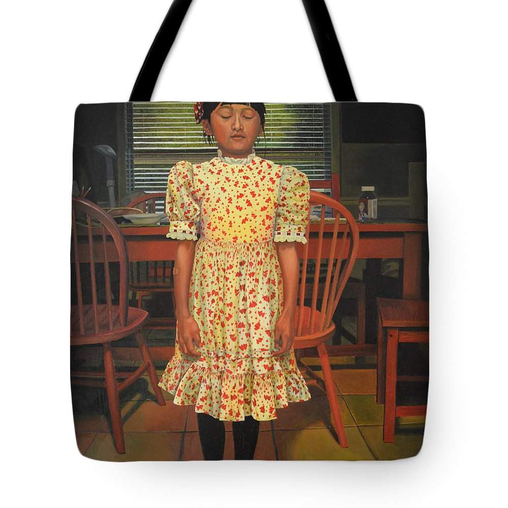 Children Paintings Tote Bag featuring the painting The Valentine Dress by Thu Nguyen