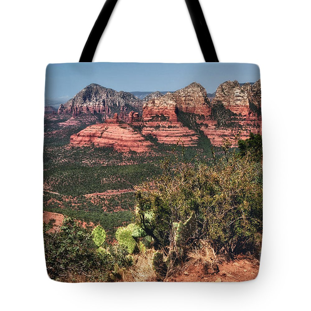 Sedona Tote Bag featuring the photograph The Valley Below by Claudia Kuhn