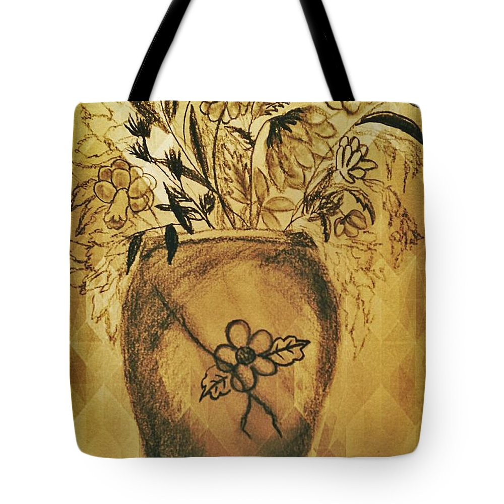 The Vase Tote Bag featuring the drawing The Vase by Maria Urso