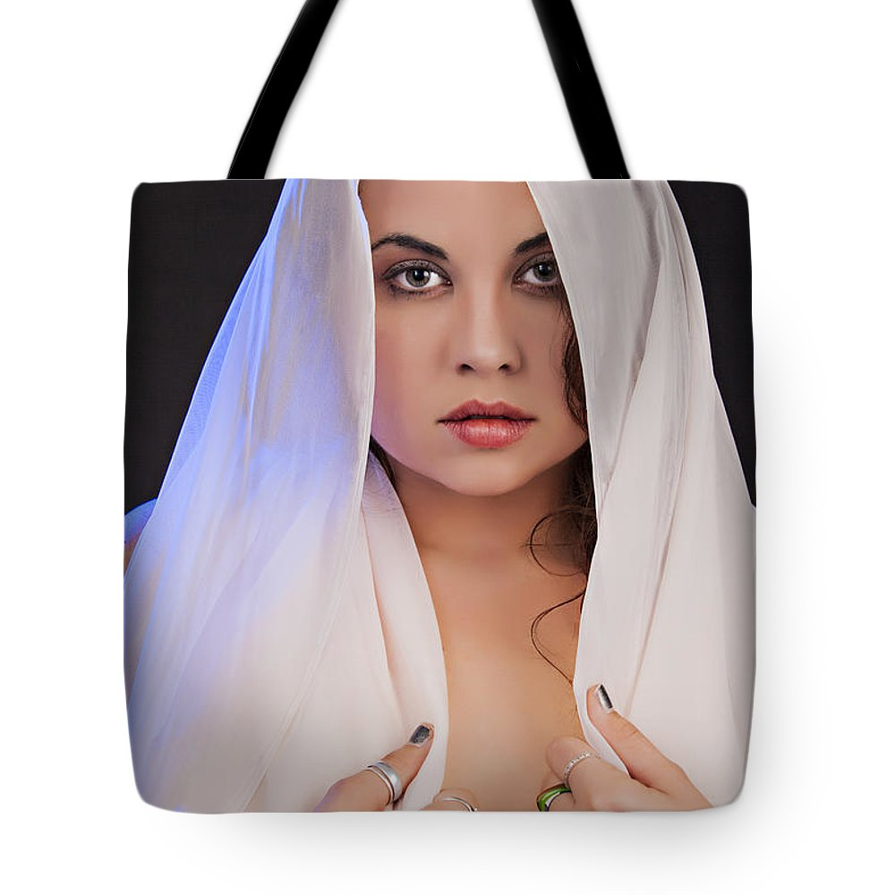 Nude Tote Bag featuring the photograph The Veil 1057.02 by Kendree Miller