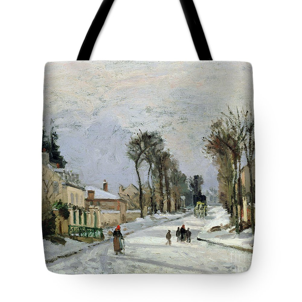 Winter Tote Bag featuring the painting The Versailles Road At Louveciennes by Camille Pissarro