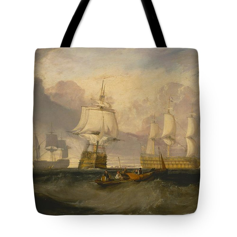 1806 Tote Bag featuring the painting The Victory Returning From Trafalgar by JMW Turner