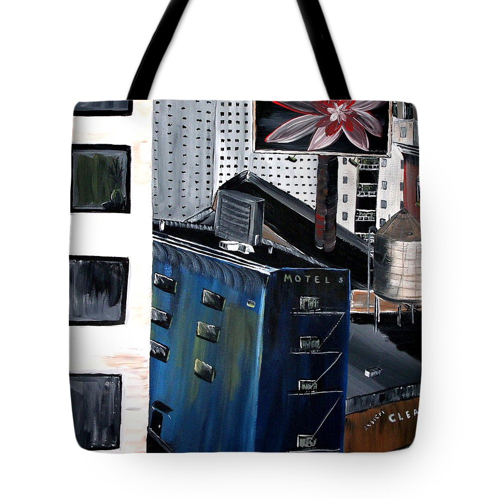 City Tote Bag featuring the painting The View by Mark Moore