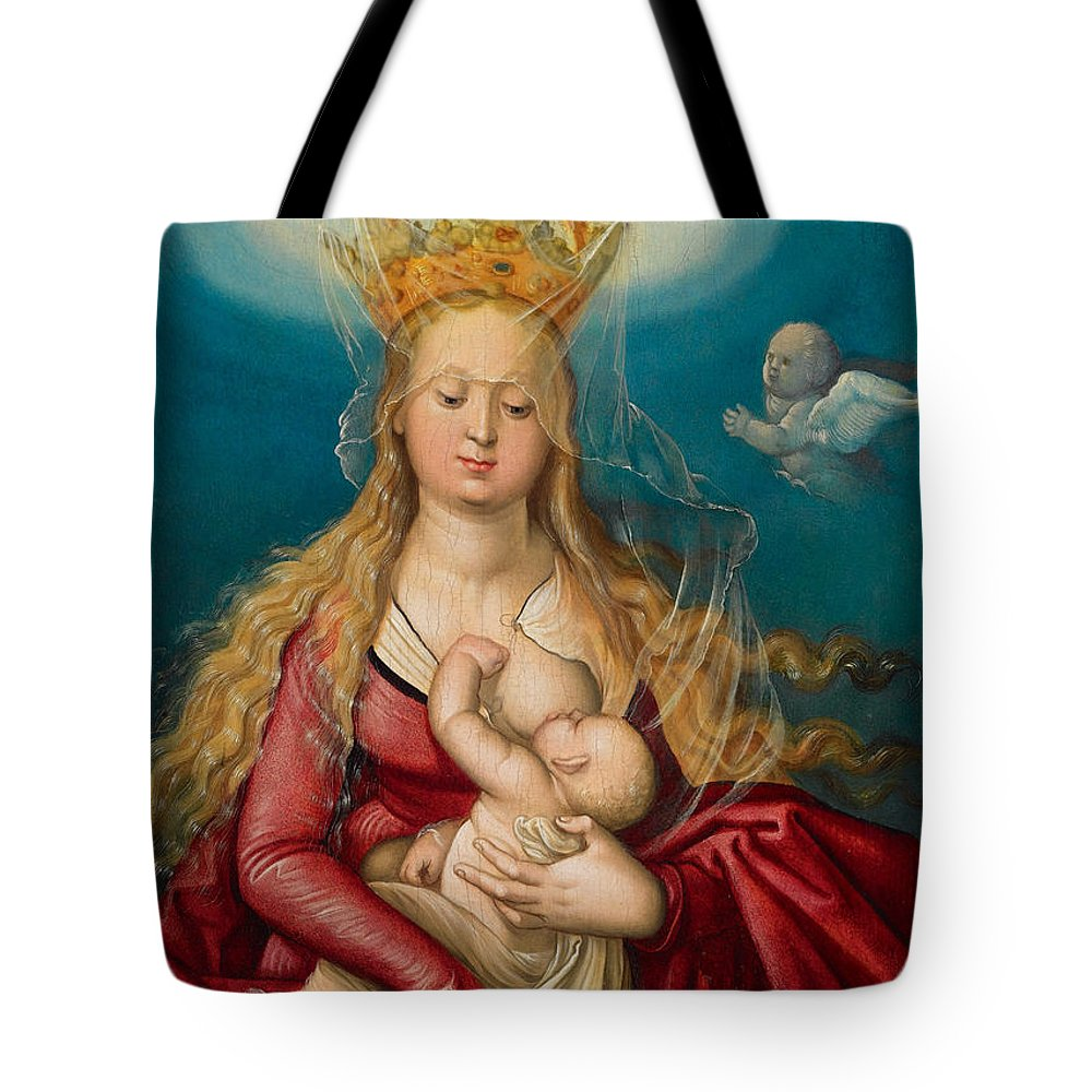 Hans Baldung Grien Tote Bag featuring the painting The Virgin As Queen Of Heaven Suckling The Infant Christ by Hans Baldung Grien