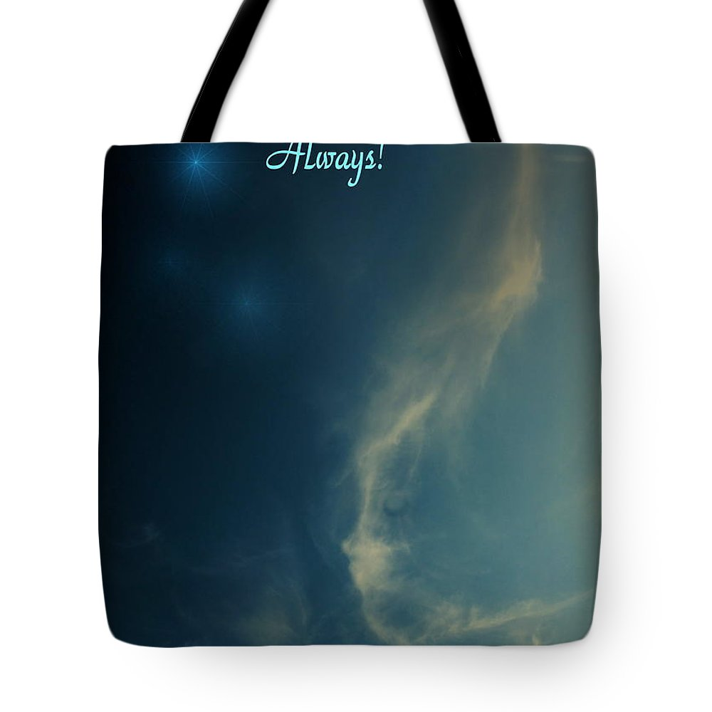 Cloudy Tote Bag featuring the photograph The Visitor Light And Peace Always by Joyce Dickens
