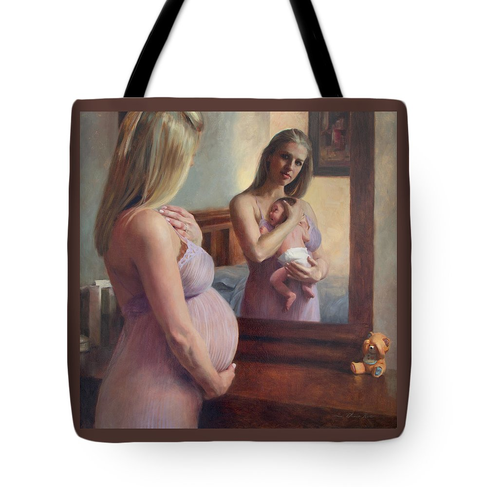 Pregnant Tote Bag featuring the painting The Wait and the Reward by Anna Bain