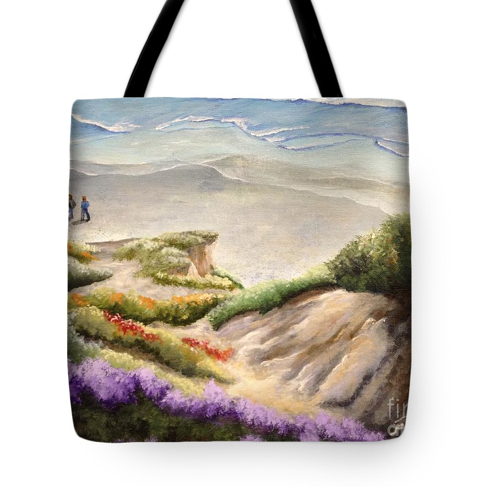San Diego Tote Bag featuring the painting The Walk by Barbara Gilroy