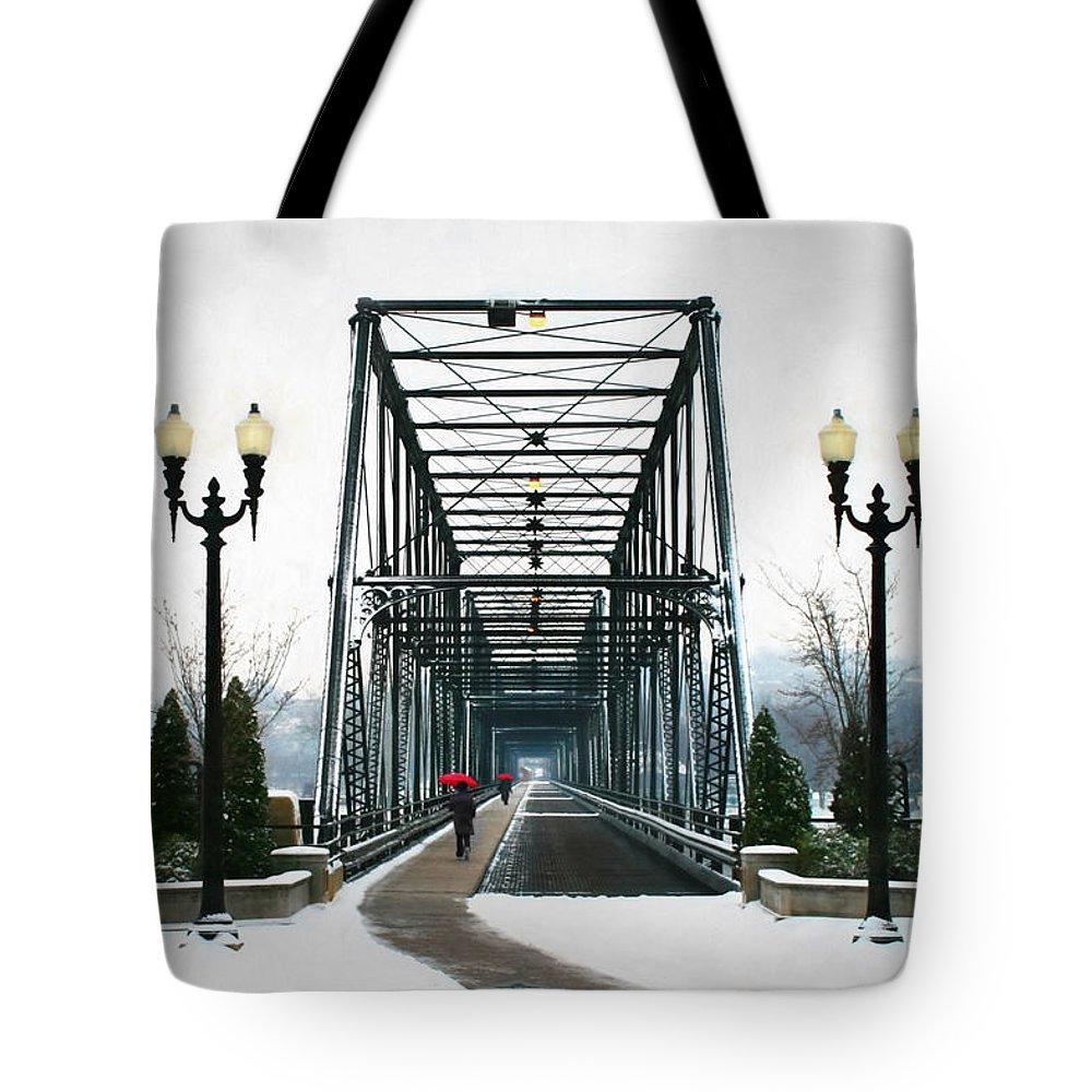 Walnut Tote Bag featuring the photograph The Walking Bridge by Lori Deiter