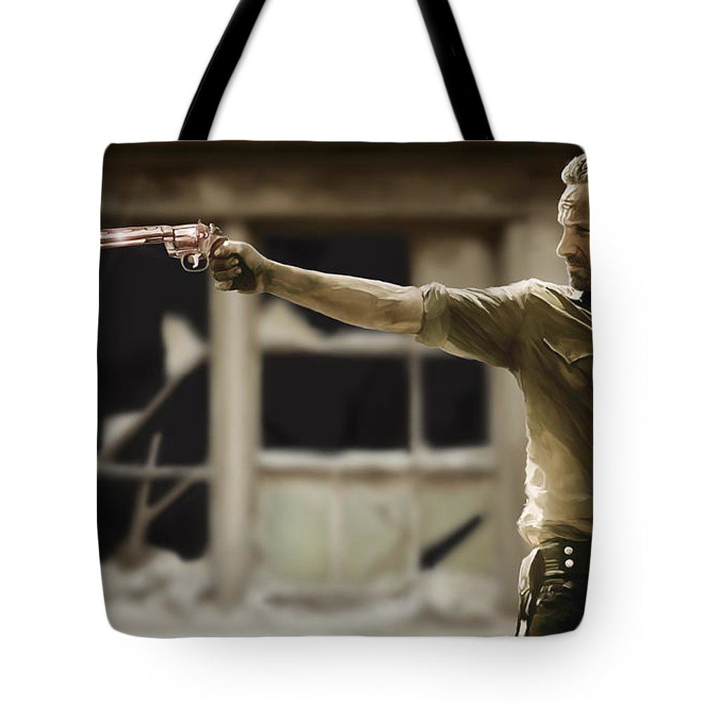 Rick Tote Bag featuring the painting The Walking Dead by Paul Tagliamonte