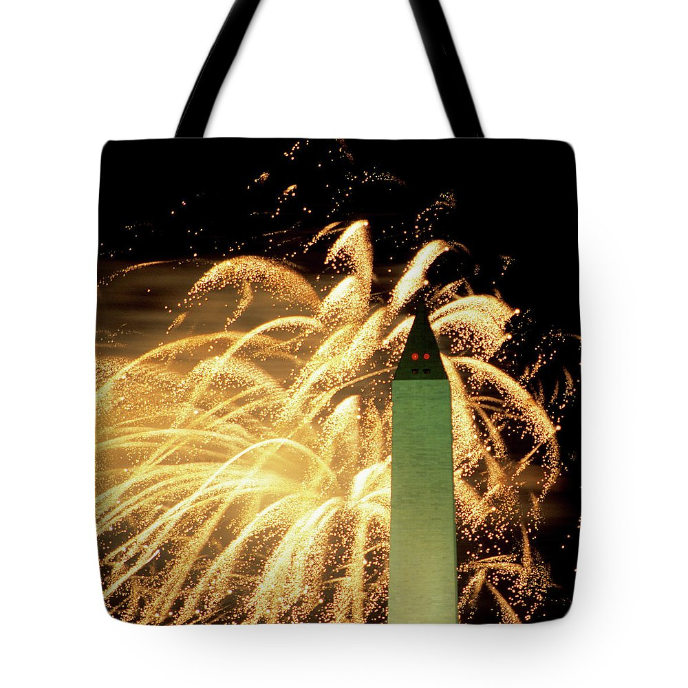 Firework Display Tote Bag featuring the photograph The Washington Monument And Fireworks by Hisham Ibrahim