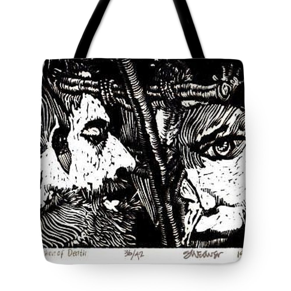 Spectators At The Crucifiction Of Jesus Christ Tote Bag featuring the relief The Watchers Of Death by Seth Weaver