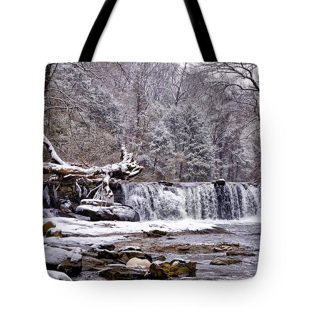 Waterfall Tote Bag featuring the photograph The Waterfall Near Valley Green In The Snow by Bill Cannon