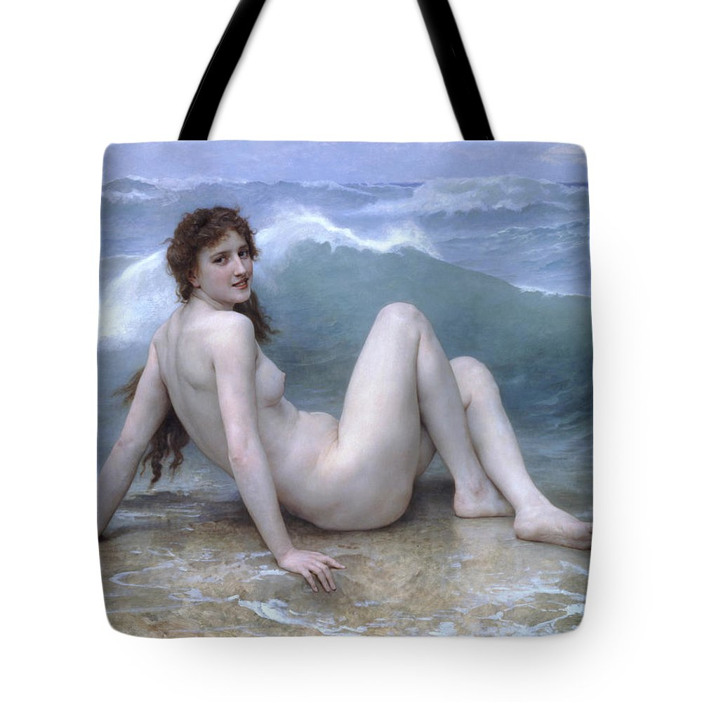 William-adolphe Bouguereau Tote Bag featuring the painting The Wave by William-Adolphe Bouguereau