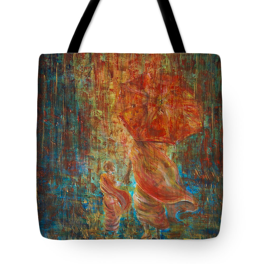 Monks Tote Bag featuring the painting The Way by Nik Helbig