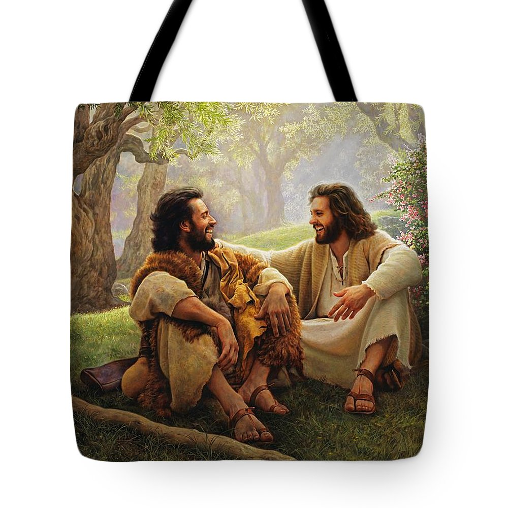 Jesus Tote Bag featuring the painting The Way Of Joy by Greg Olsen