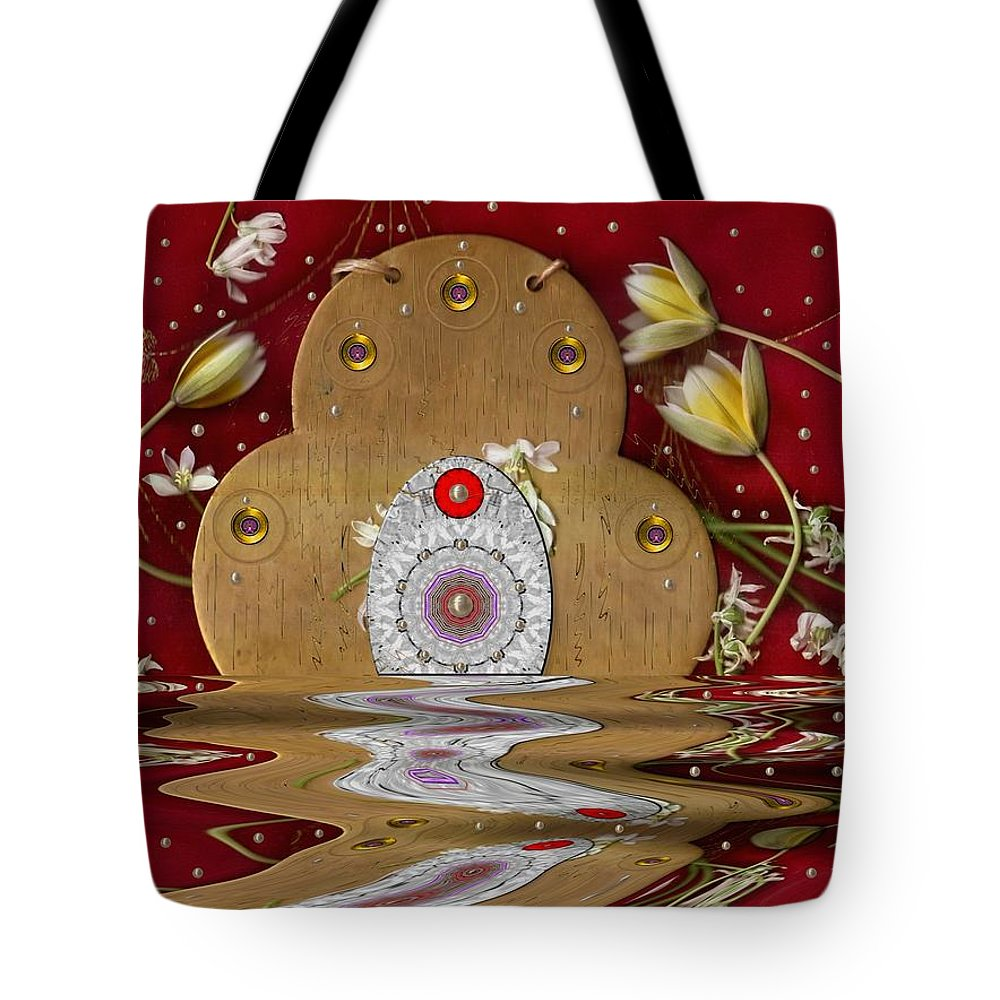 Landscape Tote Bag featuring the mixed media The Way To Heavens Gate by Pepita Selles