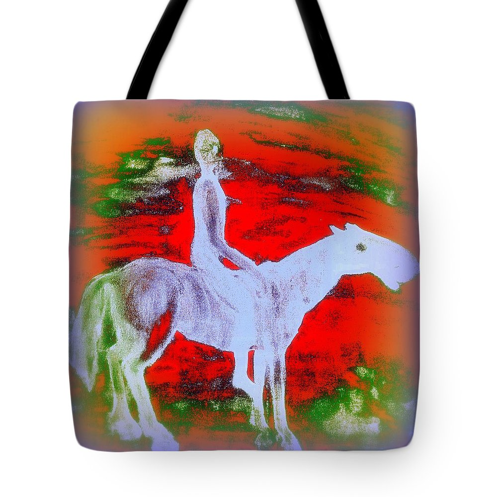 Rider Tote Bag featuring the painting You Ride The Way You Ride But Where  by Hilde Widerberg