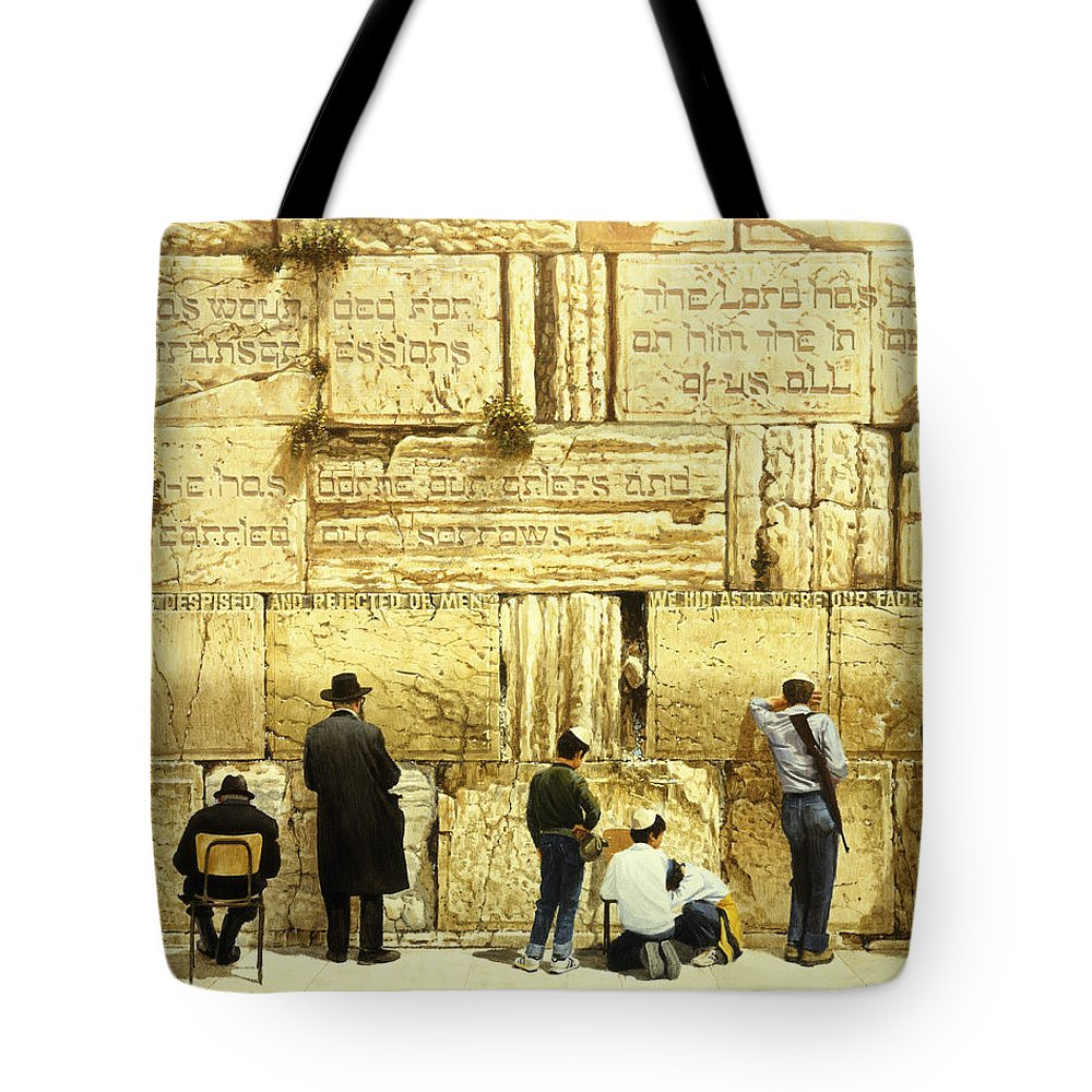 Bible Tote Bag featuring the painting The Western Wall Jerusalem by Graham Braddock
