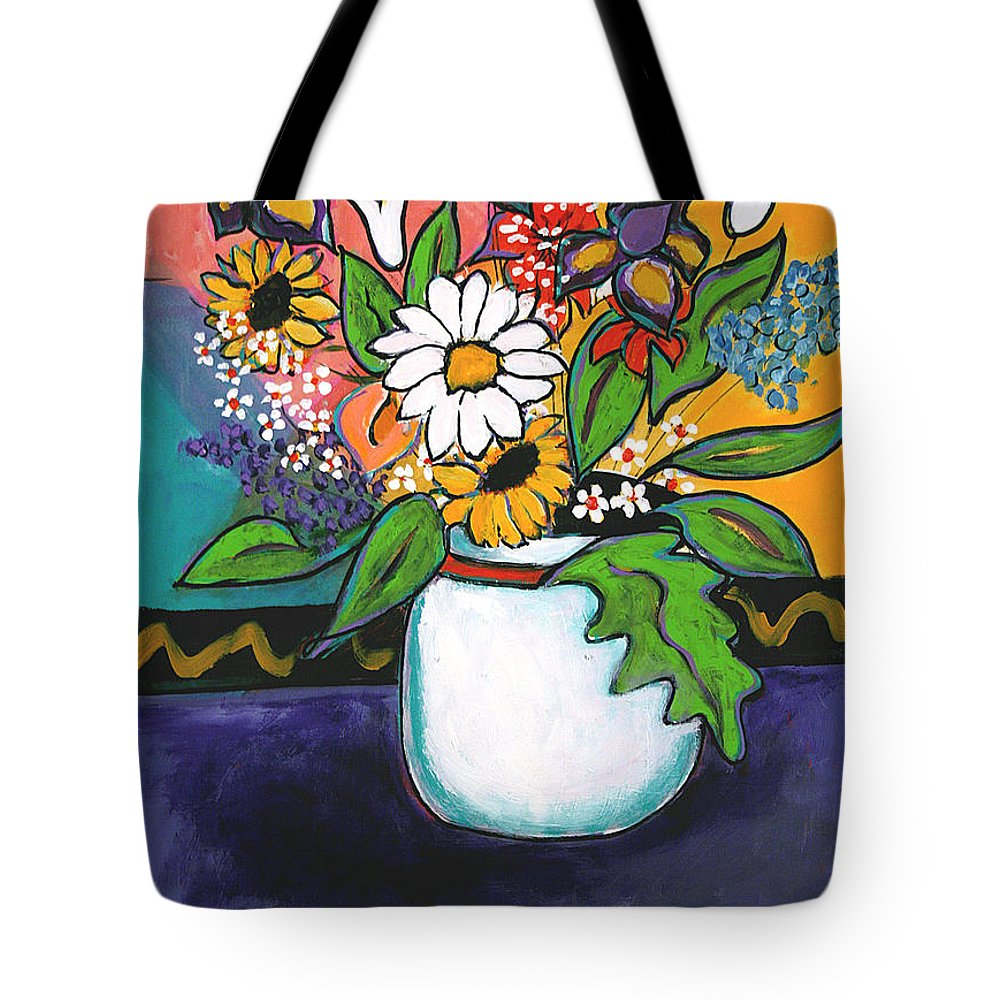 Flowers Tote Bag featuring the painting The White Daisy by Linda Holt