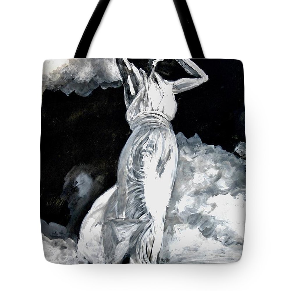Portrait Tote Bag featuring the painting The White Deer by Jarmo Korhonen aka Jarko