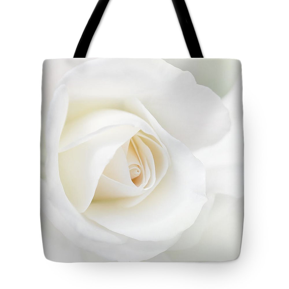 Rose Tote Bag featuring the photograph The White Rose Flower by Jennie Marie Schell